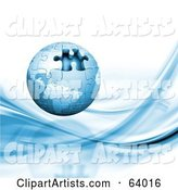 Blue Globe Puzzle with One Missing Piece over a White Background with Blue Waves