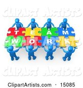 Blue People Working Together to Hold Colorful Pieces of a Jigsaw Puzzle That Spells out Team Work