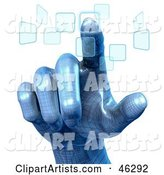 Blue Robotic Hand Pushing Touch Screen Buttons