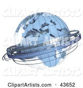 Blue Sextant Globe with a Wire Frame