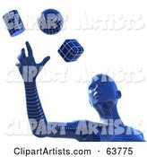 Blue Wire Framed Cyber Woman Reaching for a Sphere, Cube and Cylinder