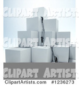 Businessmen Climbing Ladders on Stacked Cubes 2