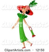 Celery Woman Walking with a Purse