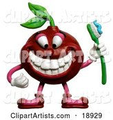 Cherry Holding a Toothbrush and Smiling