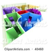Colorful Home Floor Plan with Different Colored Rooms