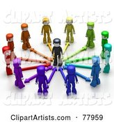 Colorful People with Arrows, Surrounding a Person
