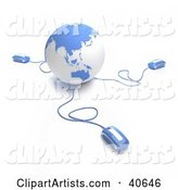 Computer Mice Connected to a Light Blue Globe