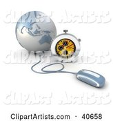 Computer Mouse Connected to a Blue Globe, with a Stopwatch