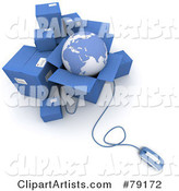 Computer Mouse Connected to Blue Shipping Boxes and a Globe - Version 1