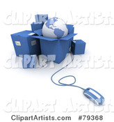 Computer Mouse Connected to Blue Shipping Boxes and a Globe - Version 2