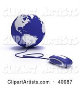 Computer Mouse Wired to a Blue Globe