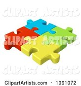 Connected Colorful Jigsaw Puzzle Pieces