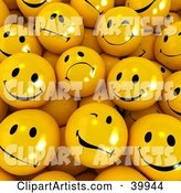 Crowd of Sad, Nervous, Flirty and Happy Yellow Smiley Balls