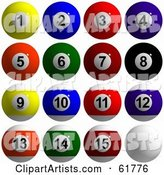 Digital Collage of Billiard Pool Balls, Solids and Stripes