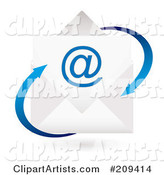 Email Envelope Icon with Blue Arrows