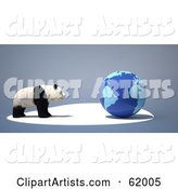 Endangered Panda Facing a Blue Globe on a Gray Background