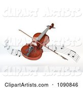 Floating Violin and Bow with a Wave of Music Notes