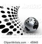 Globe with Blank Continents and Silver Oceans, on a White and Black Dotted Halftone Background
