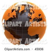 Globe with Floating Orange Continents and Black Oceans