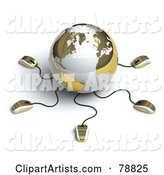 Gold and White Globe with Many Networked Computer Mice