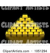 Gold Bars Stacked in Pyramid Formation on Black