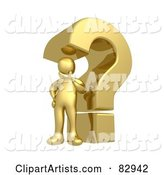 Golden Person Pondering Under a Question Mark