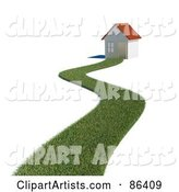 Grassy Path Leading to a Home