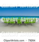 Green Conference Table on a Tropical Beach