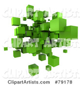 Green Cubic Floating Cluster