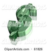 Green Dollar Symbol with an Abraham Lincoln Design