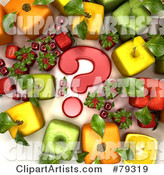 Group of Cubic Genetically Modified Fruits Around a Red Question Mark - Version 1