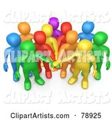 Group of Diverse Colorful People Putting Their Hands in a Pile