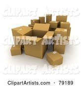 Group of Opened and Sealed Cardboard Shipping Boxes - Version 3