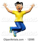 Happy and Energetic Man Jumping