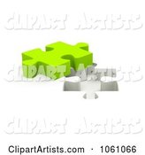Lime Green Jigsaw Puzzle Piece by a Hole