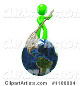 Lime Green Man Janitor with a Mop on Earth