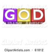 Line of Alphabet Blocks Spelling GOD