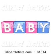 Line of Pink and Blue Alphabet Blocks Spelling BABY
