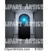 Open Stone Portal with Columns and Blue Light