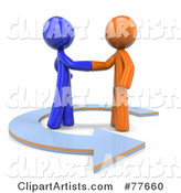 Orange and Blue Factor Men Shaking Hands in an Arrow