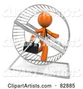 Orange Businessman Running in a Hamster Wheel