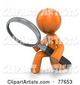 Orange Factor Man Kneeling and Searching with a Magnifying Glass