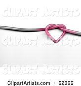 Pink Heart Knot in a Gray Wire