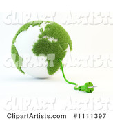 Power Cable Emerging from a Green and White Grassy Globe