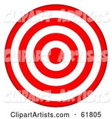 Red and White 7 Ring Bullseye Target