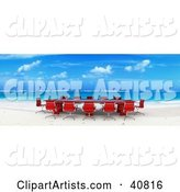 Red Conference Table and Chairs Set up on a Beach with White Sands and Blue Waters