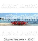 Red Conference Table on a Beach