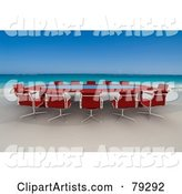 Red Conference Table on a Tropical Beach