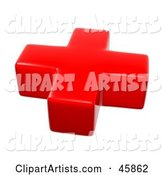 Red First Aid Cross on White