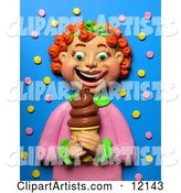 Red Haired Girl Smiling at a Chocolate Ice Cream Cone